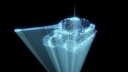 3D Tank Hologram Wireframe in Motion. Nice 3D Rendering Animation