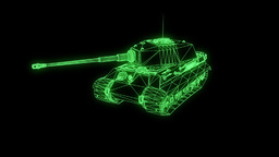 3D Tank Hologram Wireframe in Motion. Nice 3D Rendering 애니메이션