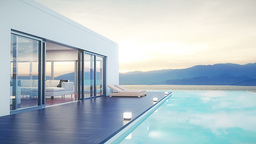Modern Luxury House With Pool At Dawn stock footage