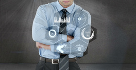 Businessman touching digital screen Animation