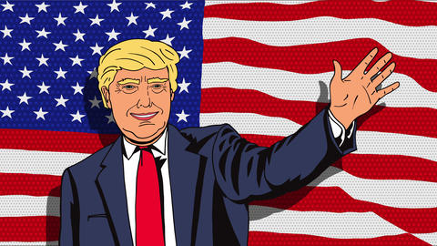 January 18, 2016: Character animation Portrait Donald Trump CG動画素材