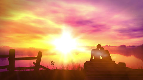 Loving couple on sunset background Animation