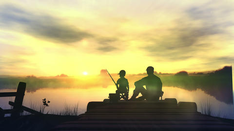 Father with son in the morning fishing Animation