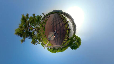 Little Planet View of Pathway in Ansan Hwarang Recreation Area 11 Live Action