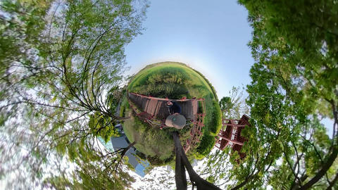 Little Planet View of Pathway in Ansan Hwarang Recreation Area 16 Live Action