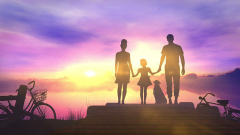Family with children standing on a small pier admiring the sunset Animation