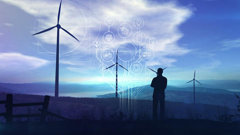 Environmental infographics on the background of wind turbines Videos animados