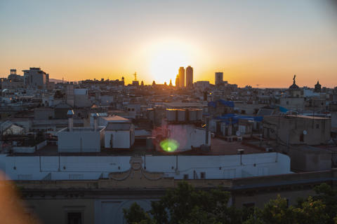 Barcelona skyline, view from the roof. Sunrise Photo