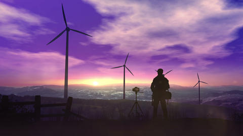 Silhouettes of wind power plants towering against sunset Animation