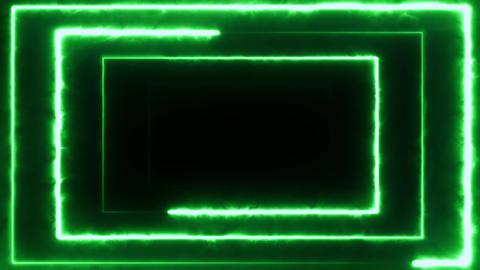 Neon bakcground flying through edless glowing rotating neon rectangle creating a Footage