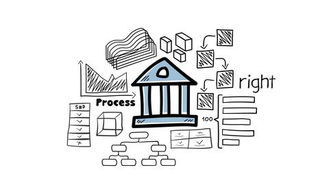 Bank icon and hand-drawn infographics Animation
