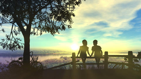 Boy and girl hold hands look at summer sunset Videos animados