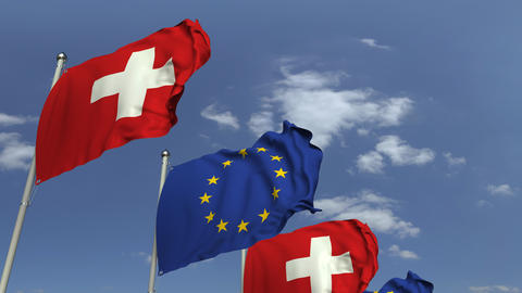 Many flags of Switzerland and the European Union EU, loopable 3D animation Footage