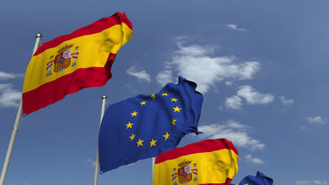 Many flags of Spain and the European Union EU, loopable 3D animation Footage