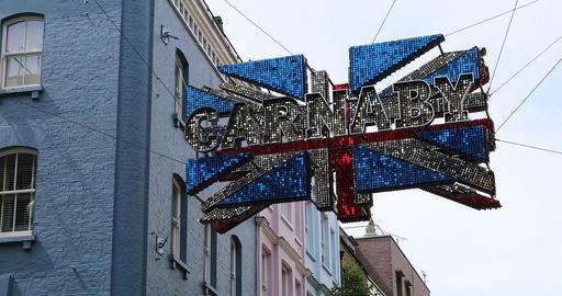 Carnaby Street London Union Jack Flag Footage