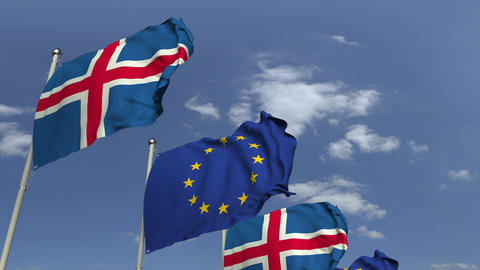 Waving flags of Iceland and the European Union EU, loopable 3D animation Footage