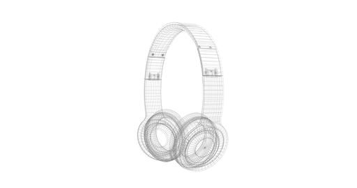 Gray Headphones wire frame isolated on a white background 3D render rotating Footage