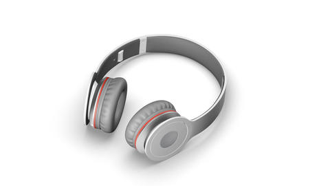 Gray headphones on white 3d render Isometric view Live Action