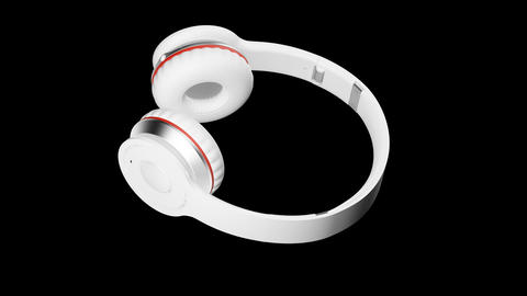 White headphones 3d render Isometric view PNG Animation