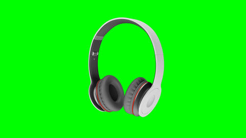 Gray wireless headphones isolated on green screen background 3d illustration Footage
