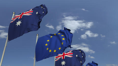 Flags of Australia and the European Union at international meeting, loopable 3D Footage