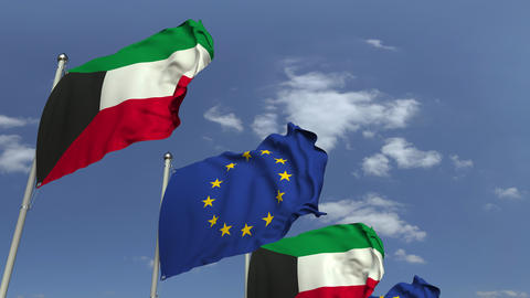 Flags of Kuwait and the European Union at international meeting, loopable 3D Footage