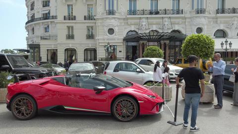 Red Lamborghini Huracan LP 640-4 Performante Side view Footage