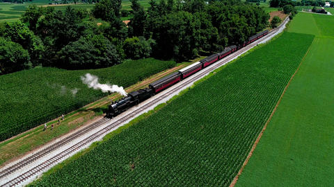 Steam Train at Picnic Area, Dropping off Passengers as Second Steam Train Passes, in Amish Live Action