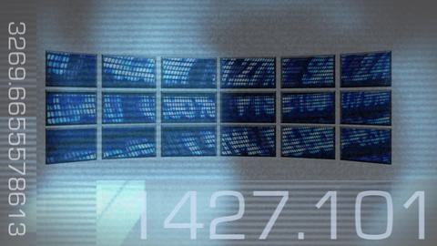 Computer screens projecting stock market data Animation