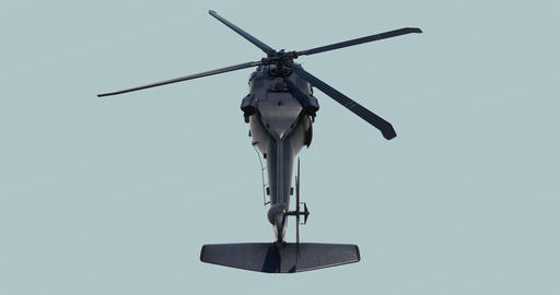 Military helicopter UH-60 Black Hawk realistic 3d animation GIF