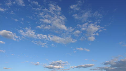 Beautiful clouds in the clear sky, Timelapse. Amazing beauty of the sky on a Live Action
