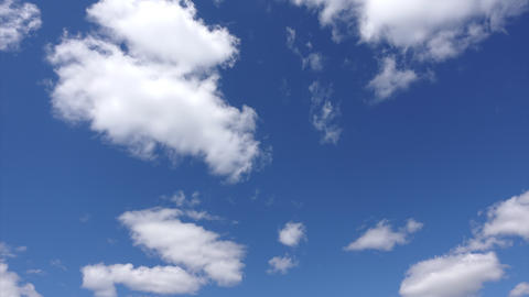 Bright blue sky and white clouds, Time-lapse. Cloud look beautiful in the sky in Live Action