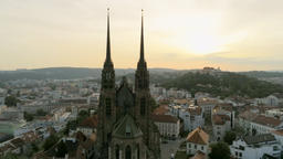Aerial View of Old Town in Czech Republic, Europe. Brno Cityscape with Landmarks Footage