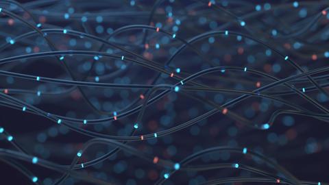 Optical Fibers Transmitting Data Concept Animation