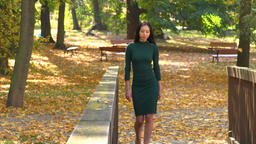 A beautiful young Asian woman walks across a footbridge in a park on a sunny day - front view Footage