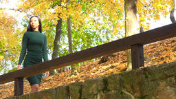 A young Asian woman leans against a wooden railing in a park and looks around, then continues on her Footage