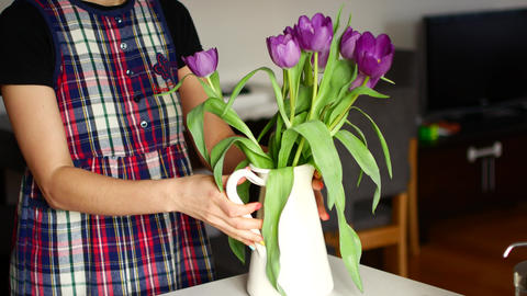 Unrecognizable woman arranging flower at home Footage
