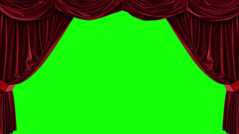 Red curtain with green background. Chromakey. 4K animation of high quality Live Action