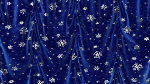 Blue curtains with snowflakes rise up and move on the viewer. Chromakey Live Action