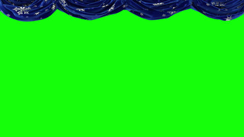 Blue curtains with snowflakes rise up and move on the viewer. Chromakey Footage