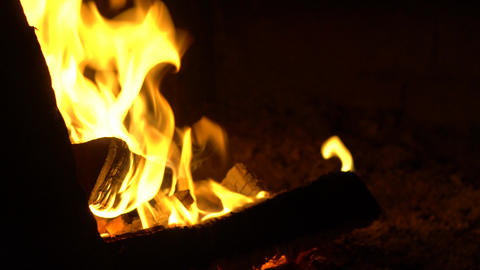 Horizontal panorama of wood covered with fire Live Action