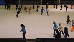 People ice skating. Ice skating rink Footage