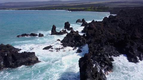 Flying Over The Rugged Coastline Of Hawaii Footage