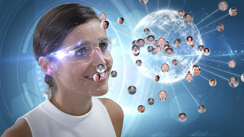 Smiling woman is using futuristic glasses Animation