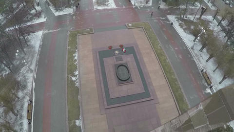 Eternal fire memorial in Volgograd, Russia Footage