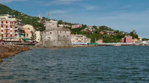Rapallo Italy Castle Monument Tourist Destination On Italian Mediterranean Sea Live Action