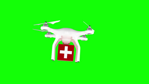 Digitally generated image of drone carrying first aid box Animation