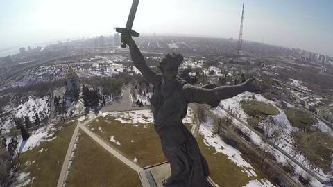Motherland Calls statue on Mamaev Kurgan, aerial view Footage