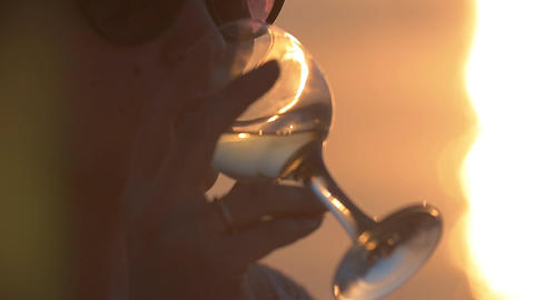 Woman drinking water from a glass Footage