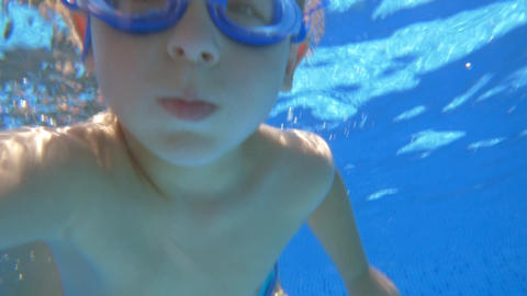 Boy in Goggles Under Water Footage